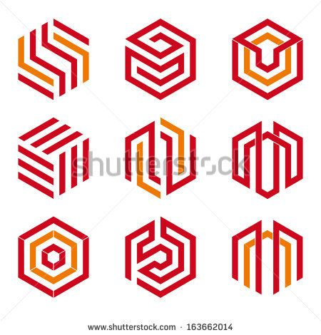 Abstract hexagon shaped vector design elements, red and orange by Oliver Hoffmann, via Shutterstock