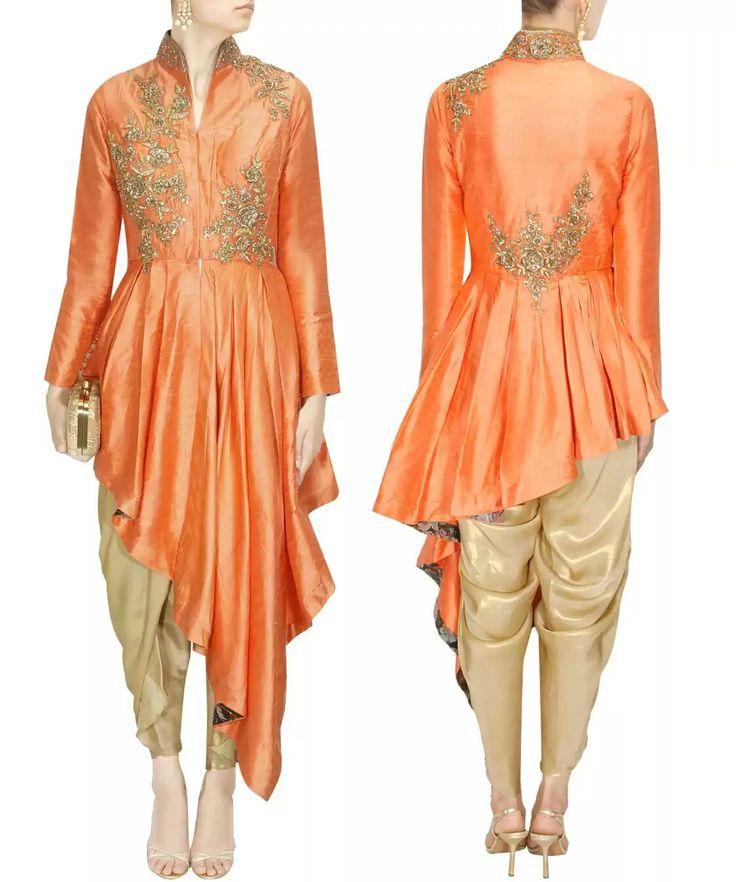 MATSYA Peach and gold floral embroidered peplum kurta with dhoti pants