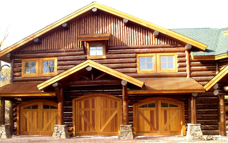 17 best images about log garages on pinterest log cabin for Log cabin garage