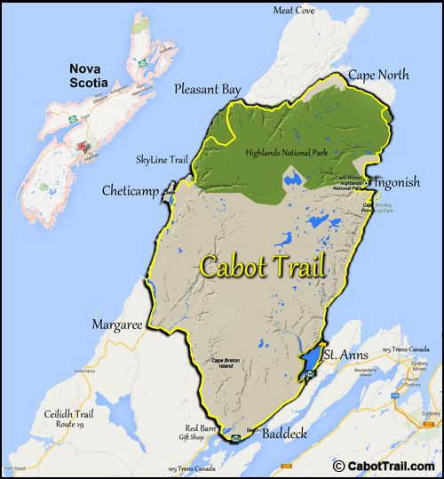 Map of the Cabot Trail, Cape Breton Nova Scitia, Cape Breton Highlands National Park