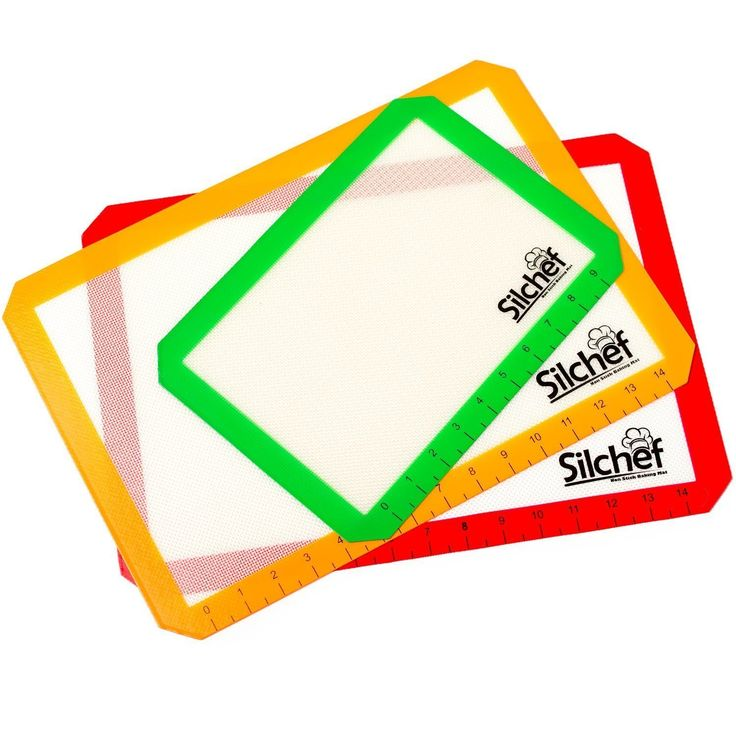 Silicone Non Stick Baking Mats with Measurements (3-Pack) - 2 Half Sheet Liners and 1 Quarter Sheet Mat - Professional Quality, Non Toxic and FDA Approved - Red, Yellow and Green by Silchef *** SPECIAL OFFER AHEAD! : Baking Accessories