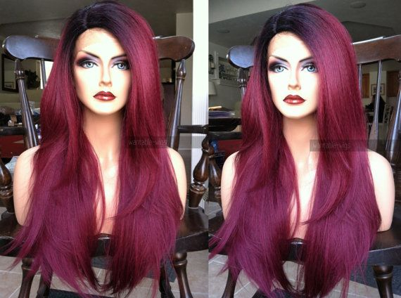 U.S.A. // 24 Yaki Texture Long Heat SAFE Wine Red by WantableWigs