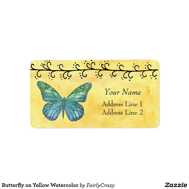 Blue Butterfly on Yellow Watercolor Background Address Sticker - personalize with your name and address