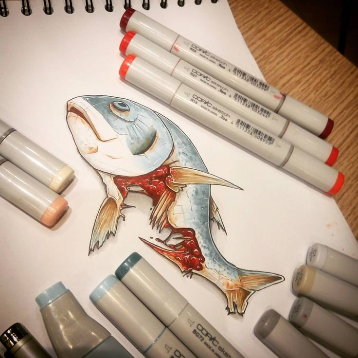 Dead fish - (blue x3 / red x3 / pink x2 /grey x6 / multiliners x2 / gelpen x1) #copic #copicmarkers #tino_copic #promarker #pantone #tria #rought #sketch #draw #3ddrawings #fish #blood #dead #cool