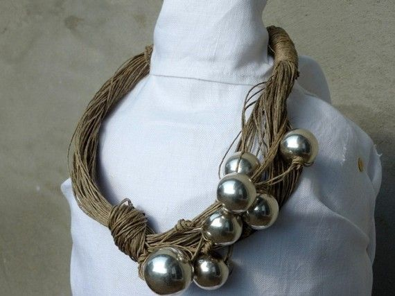 Elegant-Silver-Linen-Necklace by Cynamonn on Etsy