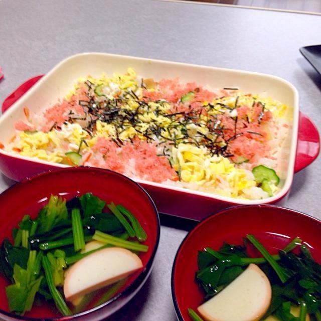 自然の着色料をつかった桜でんぶと蒲鉾で桃の節句 - 14件のもぐもぐ - ちらし寿司とお吸い物 by kohiro237