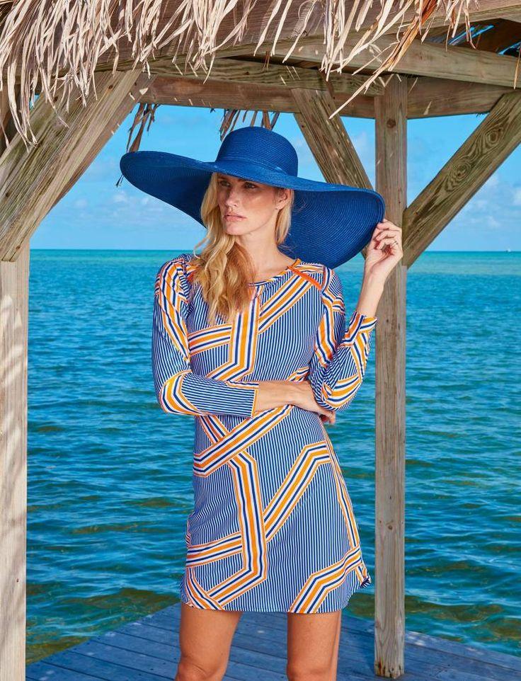 Ladies Beach Dress, Blue / Orange - UPF50+