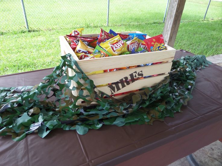Centerpiece for army/camouflage themed 10th birthday party