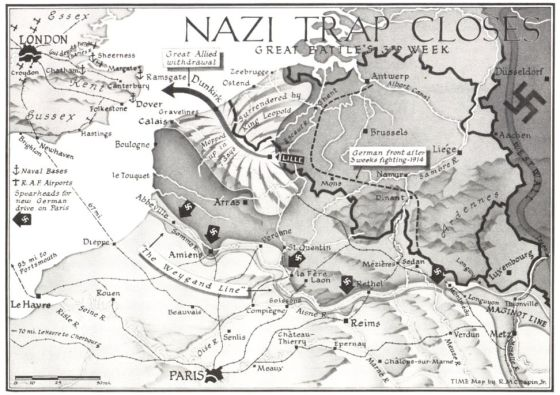 origina Dunkirk Map, from the June 10, 1940, issue of TIME Magazine