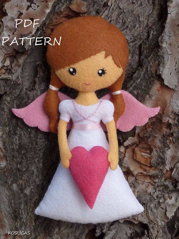 PDF sewing pattern to make a felt angel 7.1 inches tall. It is not a finished doll. Includes tutorial with pictures and step by step explanation. For
