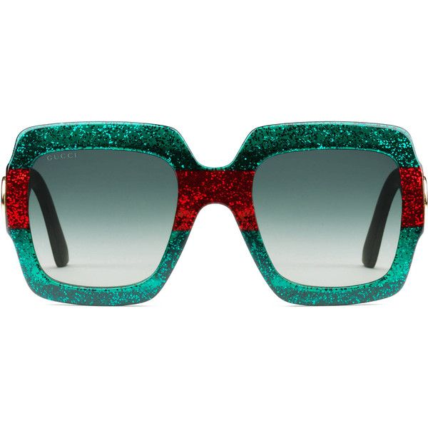 Gucci Oversize Square-Frame Acetate Sunglasses ($320) ❤ liked on Polyvore featuring accessories, eyewear, sunglasses, women, gucci, gucci eyewear, gucci glasses and gucci sunglasses