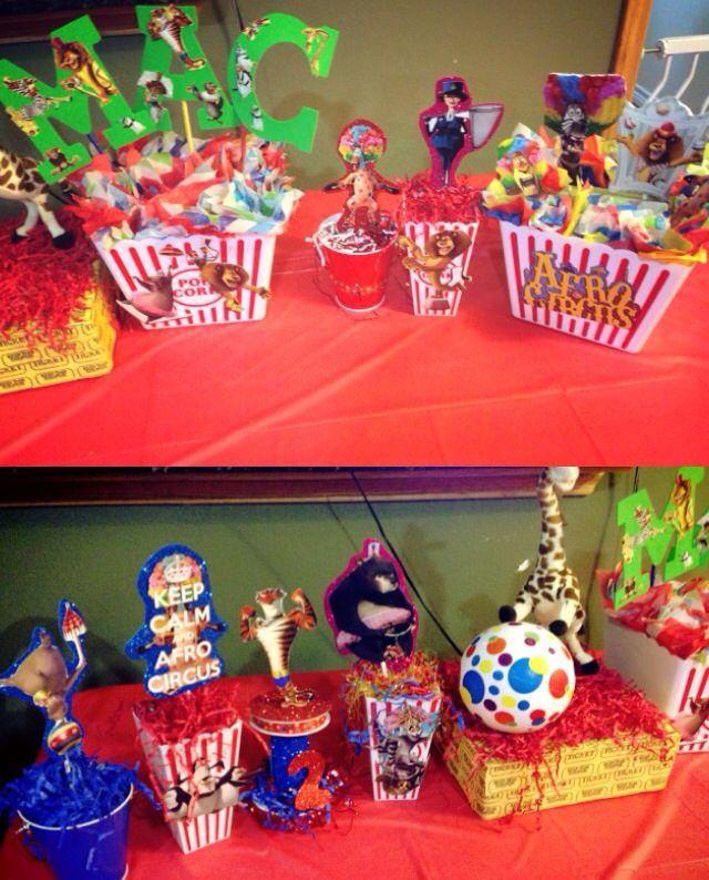 Centerpieces Diy Madagascar3 Circus Party