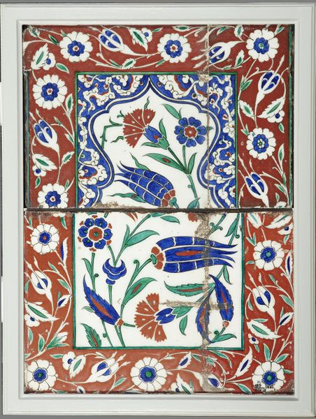 Tile panel, fritware, decorated with foliate motifs in blue, black, green and red, Turkey (Iznik), 1550-1600
