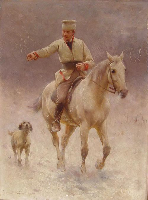 Zygmunt Ajdukiewicz (1861-1917) - Rider on horseback with dog in winter, oil on…