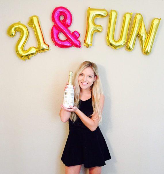 21 & FUN Balloons, Number 21 Balloons, 21st Birthday Photo Prop,  Number Balloons,21st Bday, Yay 21, Finally 21,Hello 21, Gold 21, Pink  21