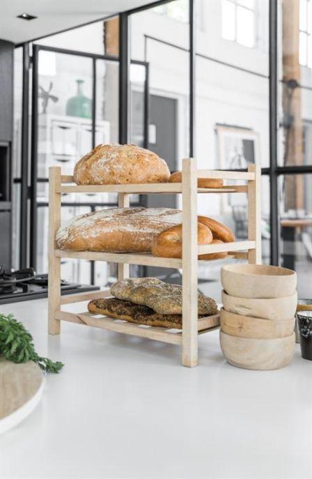 HK living staand houten rek met 3 lagen , voor op tafel met mooie items of in de keuken met servies