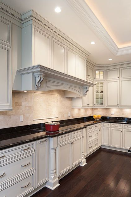 white kitchen cabinets with pewter glaze - Google Search: