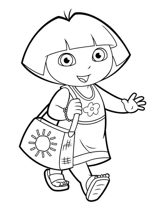 Dora The Explorer Coloring Pages Happy Dora The Explorer Dora Coloring Nick Jr Coloring Pages Preschool Coloring Pages
