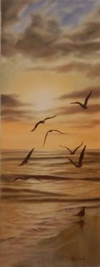 "Saatchi Art Artist ΑγγελικΗ  Aggeliki; Painting, ""Seagulls at sunset"" #art Size: 60 H x 25 W x 2 cm - NOT AVAILABLE"