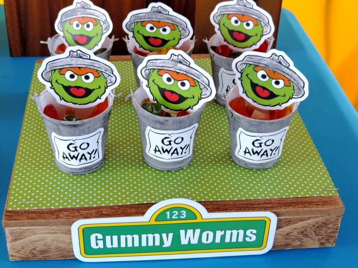 Fun snacks at a Sesame Street birthday party! See more party planning ideas at CatchMyParty.com!