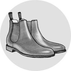 ЧЕЛСИ (CHELSEA BOOTS)  Еще одна чисто британская история — прототипом челси являются так называемые paddock boots, изобретенные в викторианскую эпоху специально для верховой езды. Позже модель вошла в массовый стиль, успела потерять свою популярность и вновь вернуть ее в 1960-е, став излюбленной обувью модов.