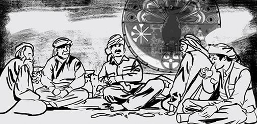 Andrea Lucio illustration on comic 'The journey of Jela, a Kurdish history'