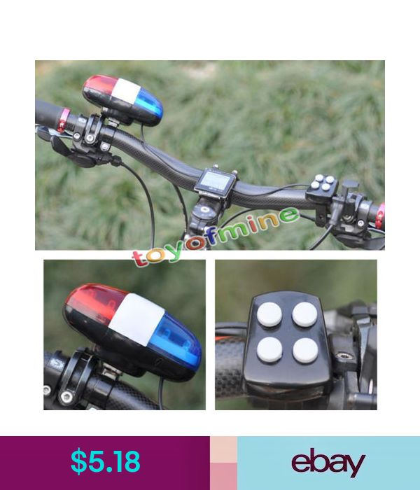 6 LED Bike Police Front Light Warning Siren Cycling Electric Horn Bell