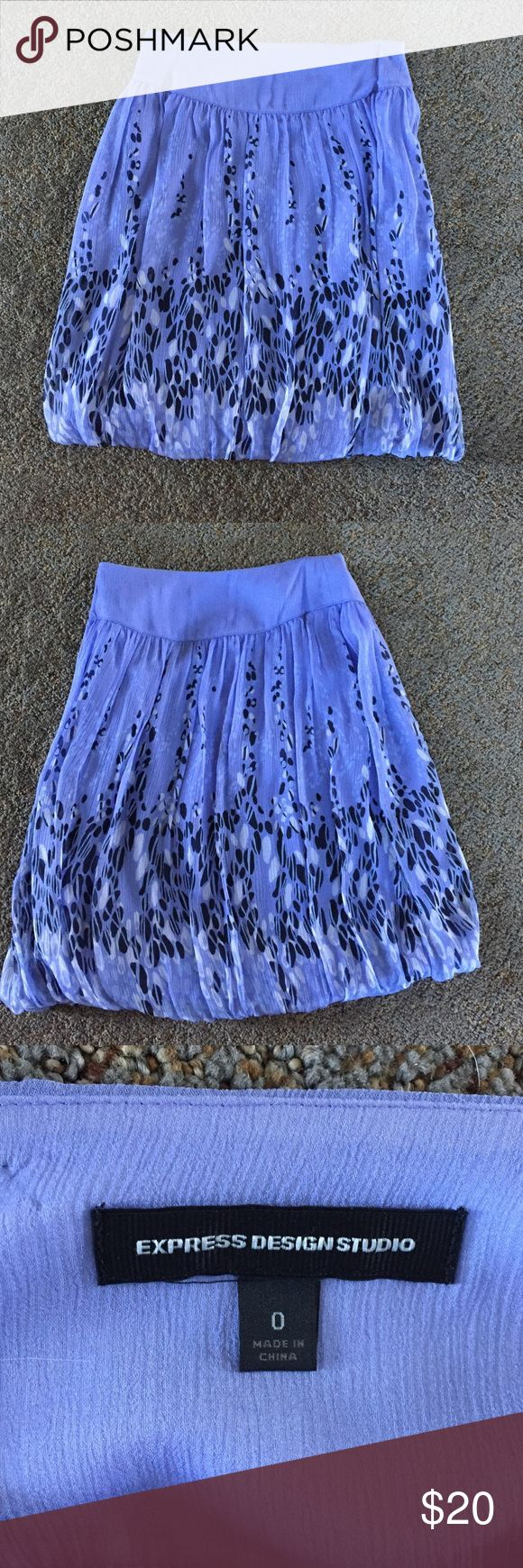Purple bubble skirt Bubble hemline white and black pattern. Express Skirts Mini