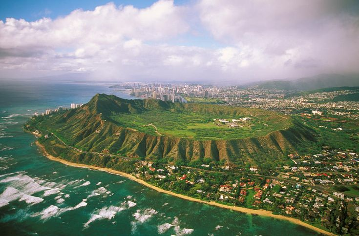 Hawaii, Oahu, Aerial of Diamond Head Crater with coastline view, Kahala homes foreground and Waikiki hotels background - Tomas del Amo, Fine Art America