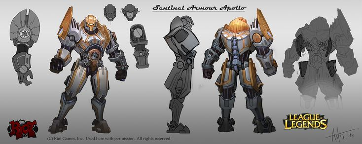 Character Design League Of Legends : Jayce sentinel armour apollo conceptart from the