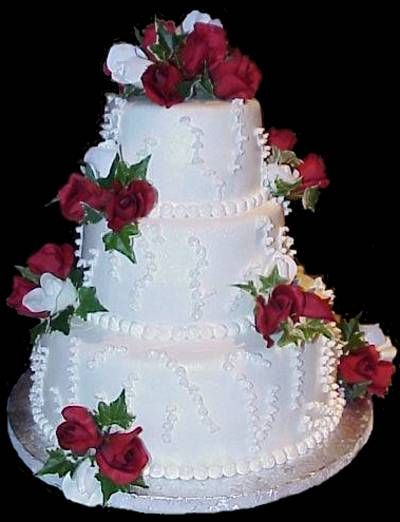 3 Tier Square Wedding Cakes With Buttercream Frosting