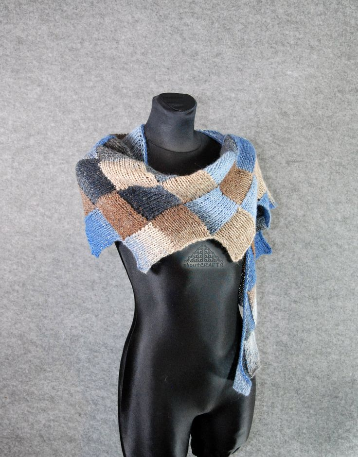Tweed shawl, Knitted scarf, Entrelac scarf, Patchwork scarf, Hand Knit, Blue Brown, Red orange, Wool, Scarf, Scarflette, Gift for sister by aboutCRAFTS on Etsy