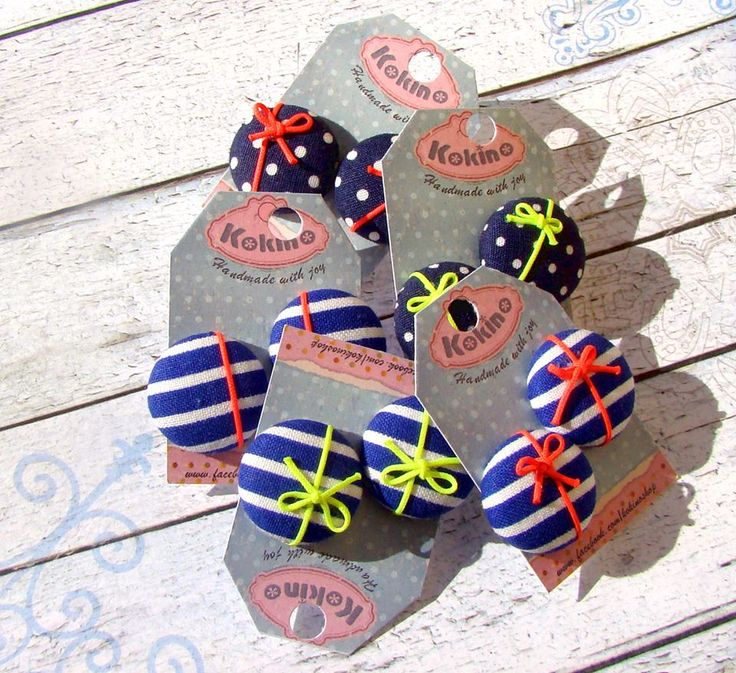 Cover button studs, lovely navy style with bow, made by www.facebook.com/kokinoshop
