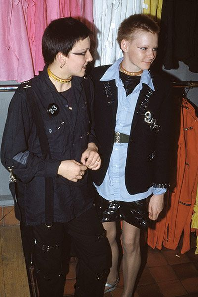 Two girls in Boy, Kings Road, London, 1977 I think this captures the beginning of tabloid punk, when the scene exploded overground. Before, the first punks were making their clothes at home using safety pins and zips and whatever to create a look. Then, suddenly you could go to certain shops and buy that look off the peg. It became less about your individual creativity and more about a collective identity. All in the space of about a year