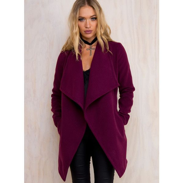 Dark Orchid Waist Tie Coat ($54) ❤ liked on Polyvore featuring outerwear, coats, purple, waterfall coat and purple coat