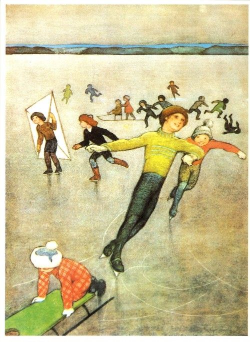 Vintage Rudolf Koivu Christmas Card ~ Ice Skaters ~ Orange Accents