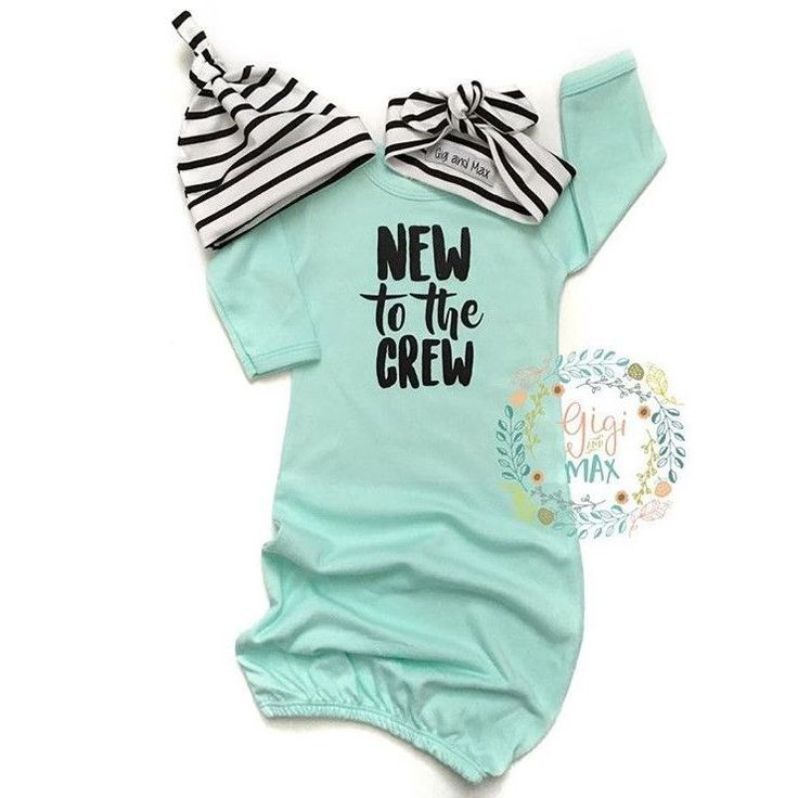 This listing is for a super soft and stretchy New to the Crew Mint gown for a little girl or boy! Matching topknot headband and/or hat can be purchased in the drop down of the listing. This gown is si