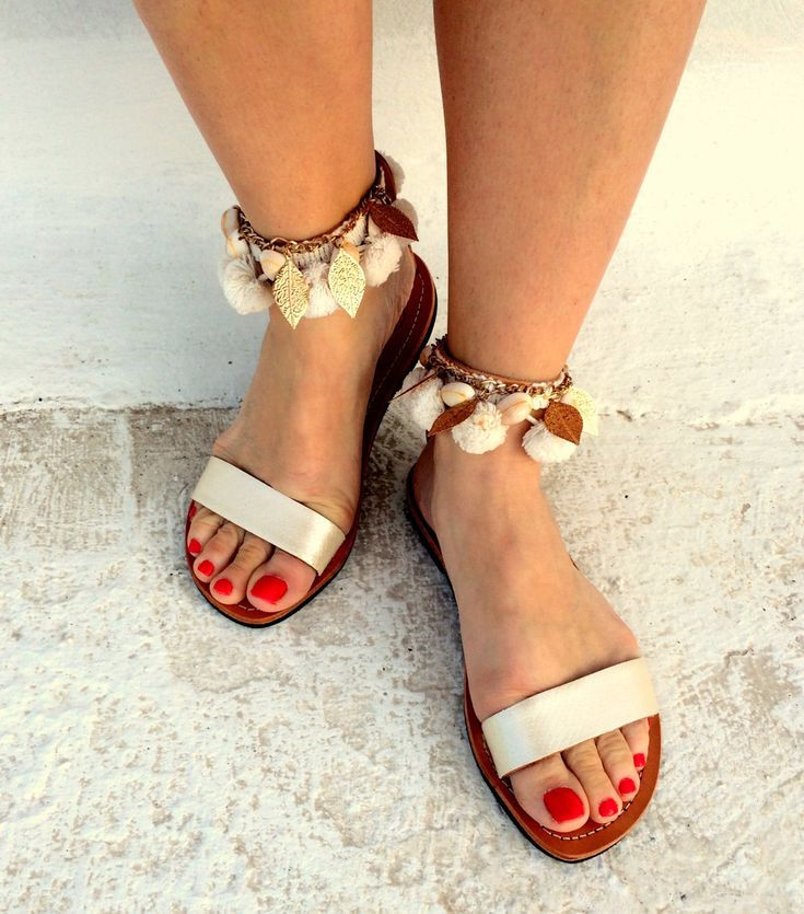 wedding sandals /white barefoot greek sandals/handmade with white snake print leather  pom pom and gold leaves by aeliasandals on Etsy