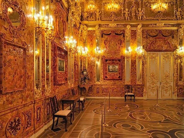 The Amber Room in the Ekaterininsky palace in the city of Tsarskoe Selo near St. Petersburg, Russia