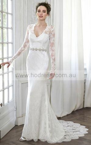 Sheath Deep V-neck Empire Long Sleeves Floor-length Wedding Dresses wfs0078--Hodress