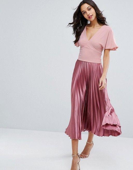 Miss Selfridge Pink Batwing Top & Pink Satin Pleated Midi Skirt at Asos