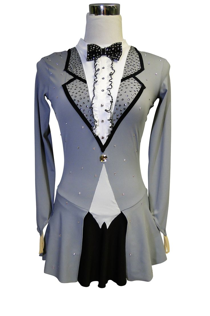 Grey, black and white tuxedo figure skating dress by Sk8 Gr8 Designs. Learn more about custom figure skating dresses at http://sk8gr8designs.com