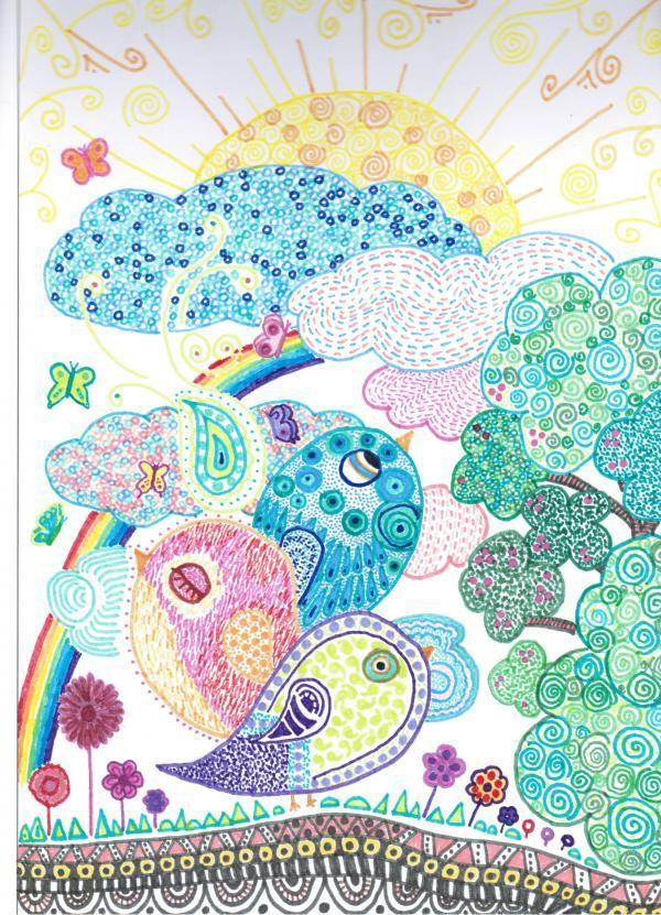 Elegí este dibujo con rotuladores porque me gustan mucho los colores y las formas que ha usado.