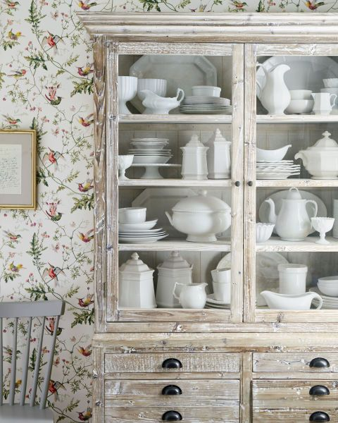 The grand dame of the dining room has never been more popular. This apothecary cabinet ($1,790; stockandtrade.com) pairs perfectly with basic white china.