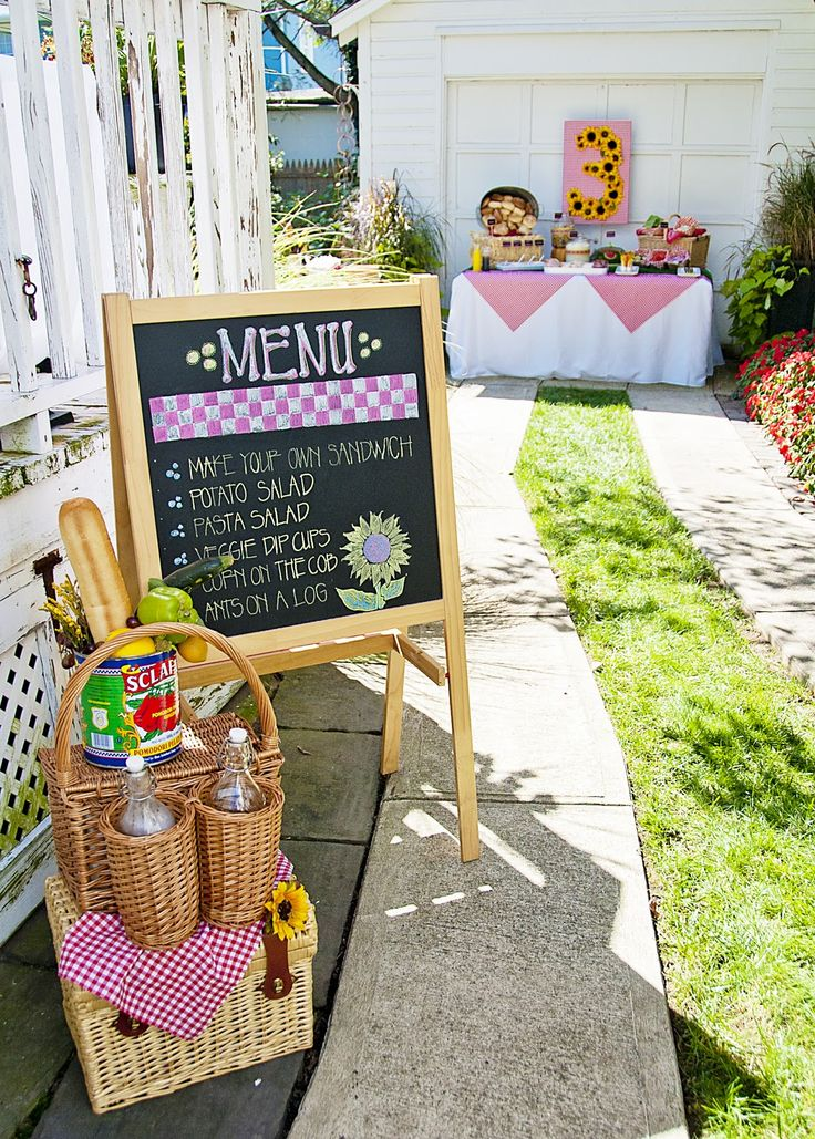 party style: picnic party- like the menu on the chalk board
