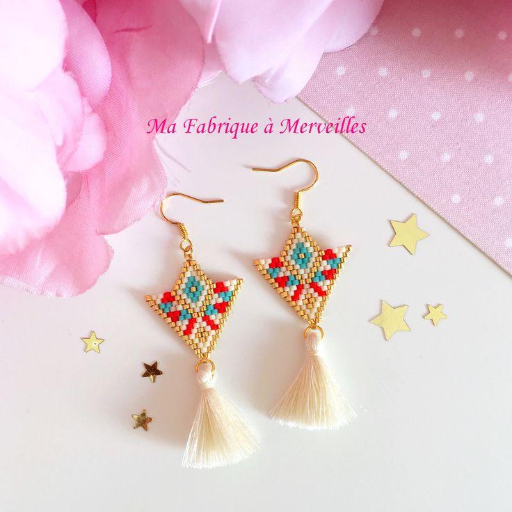 "Boucles d'oreilles ""Lilia"" en perles Miyuki"