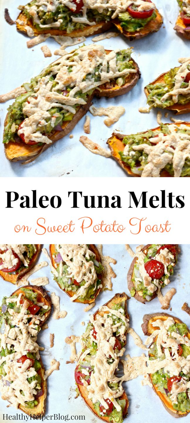 Paleo Tuna Melts on Sweet Potato Toast [gluten-free and dairy-free] • Healthy Helper