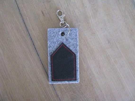 minimal house keychain key fob - black house bag charm or keychain - grey felt and black leather - new house gift - free shipping