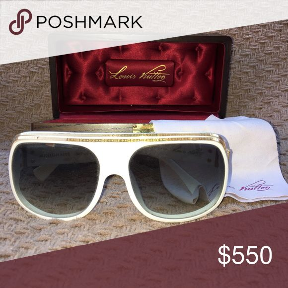 Louis Vuitton millionaire sunglasses Millionaire style sunglasses bought in Paris, France. White framed and lined with double stripped gold. Comes with original case and wipe. Small screw missing on one side of strip. Louis Vuitton Accessories Sunglasses