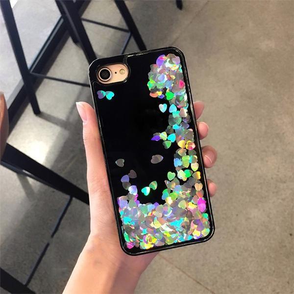SEQUIN HEARTS LIQUID PHONE CASE $11,20